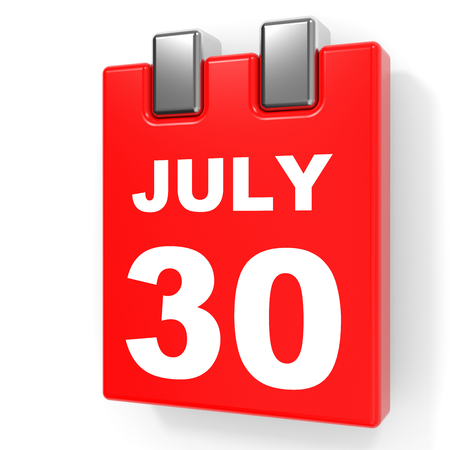 July 30. Calendar on white background. 3D illustration.