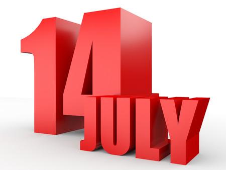 fourteenth: July 14. Text on white background. 3d illustration. Stock Photo