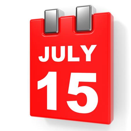 July 15. Calendar on white background. 3D illustration.
