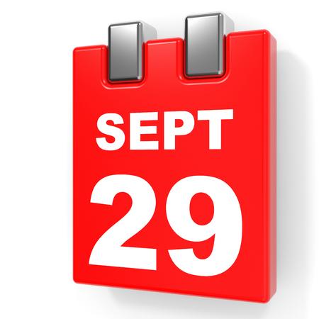 September 29. Calendar on white background. 3D illustration.