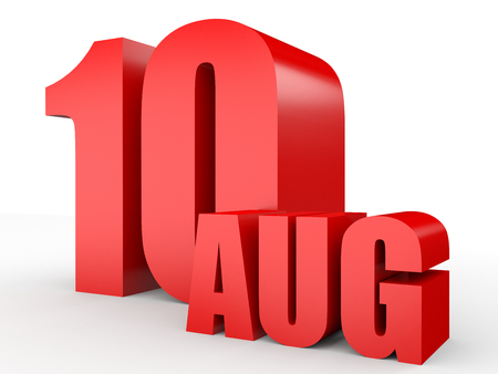 August 10. Text on white background. 3d illustration. Stock Photo