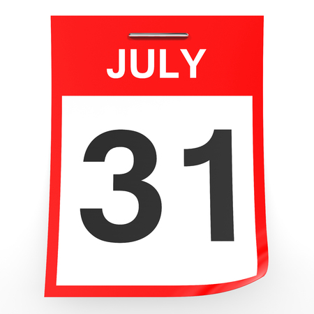 31: July 31. Calendar on white background. 3D illustration.