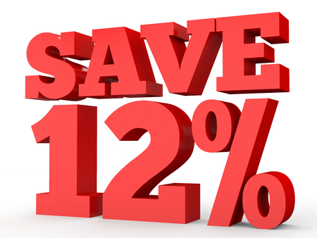 Twelve percent off. Discount 12 %. 3D illustration on white background. Reklamní fotografie