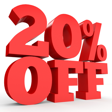 Twenty percent off. Discount 20 %. 3D illustration on white background. Stock Photo