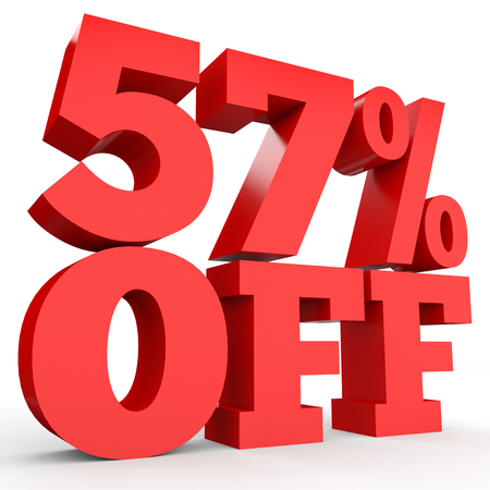 57: Fifty seven percent off. Discount 57 %. 3D illustration on white background.