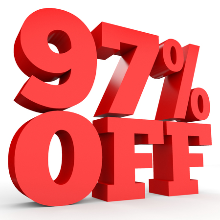 Ninety seven percent off. Discount 97 %. 3D illustration on white background.