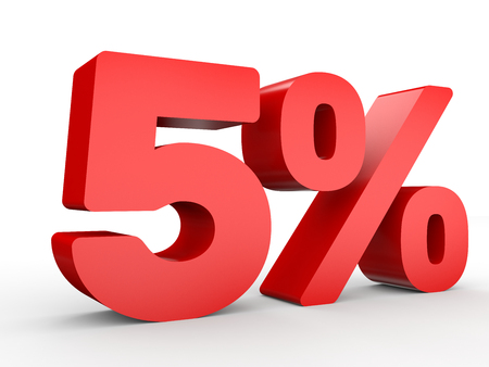 Five percent off. Discount 5 %. 3D illustration on white background. Stock Photo