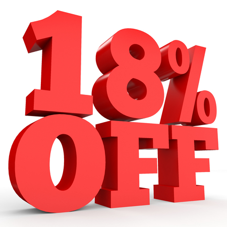 Eighteen percent off. Discount 18 %. 3D illustration on white background. Stock Photo