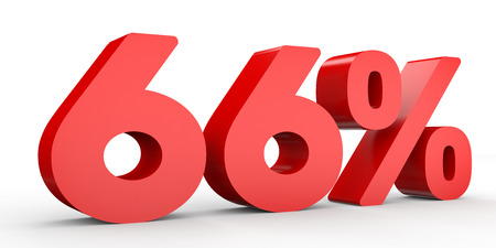 Sixty six percent off. Discount 66 %. 3D illustration on white background.