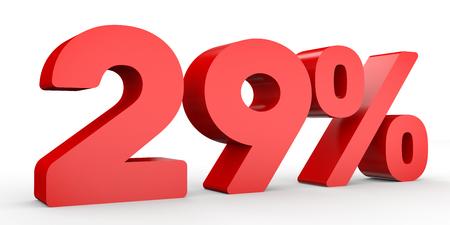 Twenty nine percent off. Discount 29 %. 3D illustration on white background.