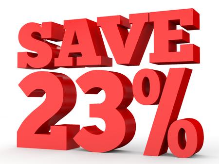 Twenty three percent off. Discount 23 %. 3D illustration on white background. Stock Photo