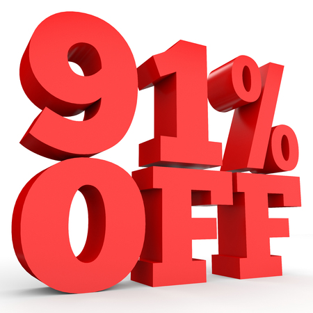 Ninety one percent off. Discount 91 %. 3D illustration on white background.