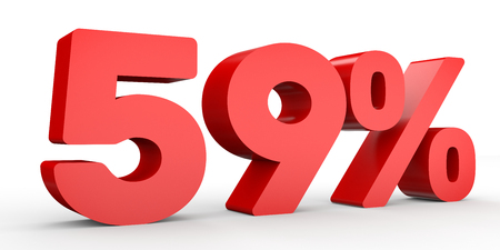 Fifty  nine percent off. Discount 59 %. 3D illustration on white background. Stock Photo