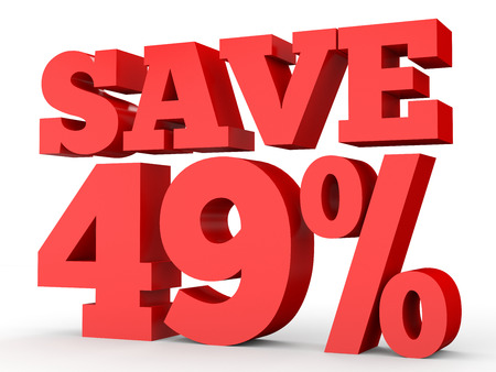 40: Forty nine percent off. Discount 49 %. 3D illustration on white background.