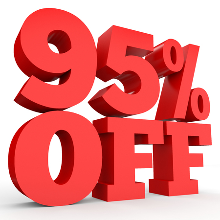 Ninety five percent off. Discount 95 %. 3D illustration on white background.