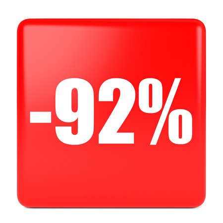 92: Ninety two percent off. Discount 92 %. 3D illustration on white background.