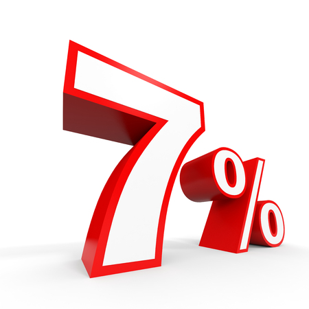 perdidas y ganancias: Seven percent off. Discount 7 %. 3D illustration on white background. Foto de archivo