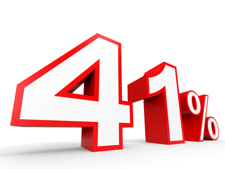 Forty one percent off. Discount 41 %. 3D illustration on white background.