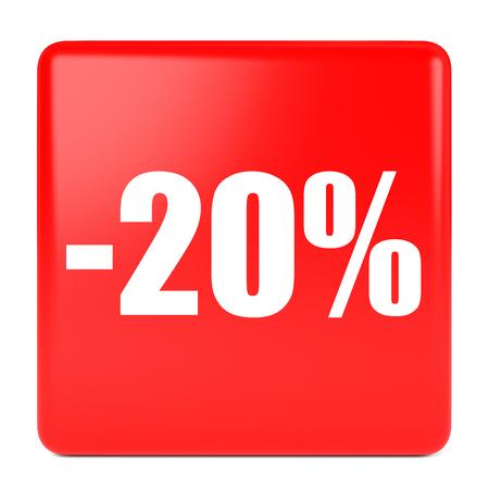 Twenty percent off. Discount 20 %. 3D illustration on white background. 版權商用圖片