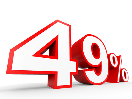Forty nine percent off. Discount 49 %. 3D illustration on white background.
