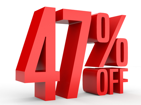 40: Forty seven percent off. Discount 47 %. 3D illustration on white background. Stock Photo