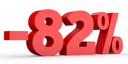 perdidas y ganancias: Minus eighty two percent. Discount 82 %. 3D illustration on white background.