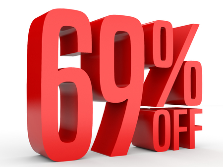 Sixty nine percent off. Discount 69 %. 3D illustration on white background. Stock Photo