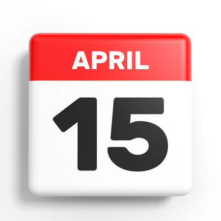 number 15: April 15. Calendar on white background. 3D illustration. Stock Photo