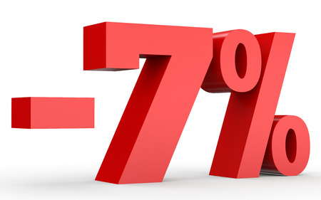 Minus seven percent. Discount 7 %. 3D illustration on white background.
