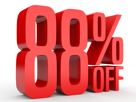 percent sign: Eighty eight percent off. Discount 88 %. 3D illustration on white background.