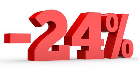 perdidas y ganancias: Minus twenty four percent. Discount 24 %. 3D illustration on white background.