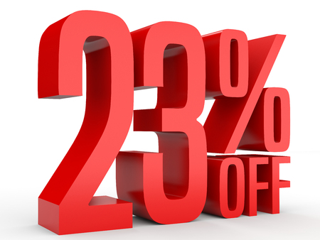 Twenty three percent off. Discount 23 %. 3D illustration on white background. Banco de Imagens