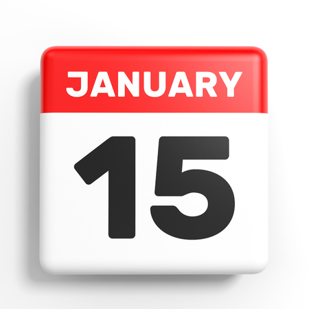 number 15: January 15. Calendar on white background. 3D illustration.