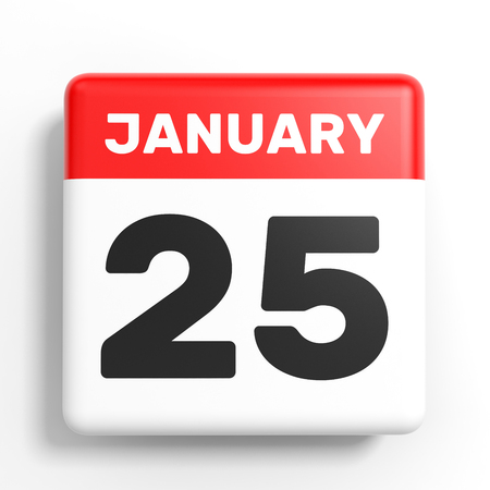 25th: January 25. Calendar on white background. 3D illustration.