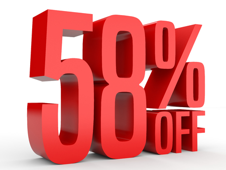 Fifty eight percent off. Discount 58 %. 3D illustration on white background. Stock Photo