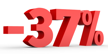 Minus thirty seven percent. Discount 37 %. 3D illustration on white background. Stock Photo
