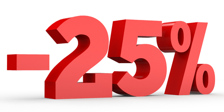 Minus twenty five percent. Discount 25 %. 3D illustration on white background.