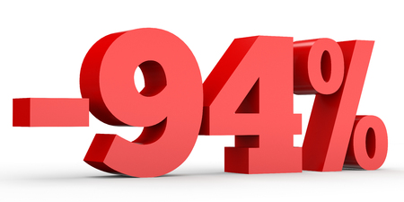 perdidas y ganancias: Minus ninety four percent. Discount 94 %. 3D illustration on white background.