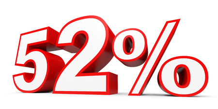Fifty two percent off. Discount 52 %. 3D illustration on white background.
