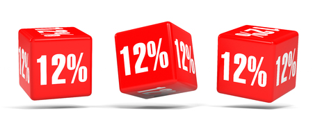 Twelve percent off. Discount 12 %. 3D illustration on white background. Red cubes.