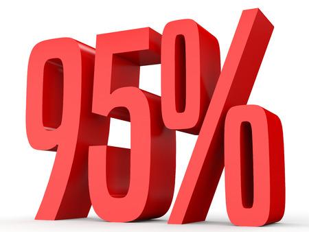 Vijfentwintig procent van Korting 95%. 3D-afbeelding op een witte achtergrond.