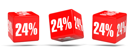 Twenty four percent off. Discount 24 %. 3D illustration on white background. Red cubes.