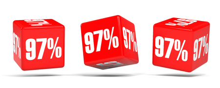 Ninety seven percent off. Discount 97 %. 3D illustration on white background. Red cubes.