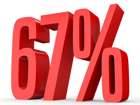 percent sign: Sixty seven percent off. Discount 67 %. 3D illustration on white background. Stock Photo