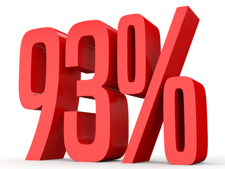 percent sign: Ninety three percent off. Discount 93 %. 3D illustration on white background.