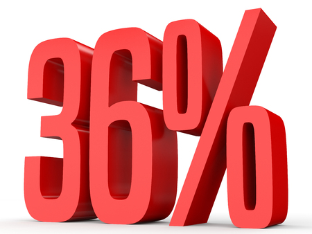 number 36: Thirty six percent off. Discount 36 %. 3D illustration on white background. Stock Photo