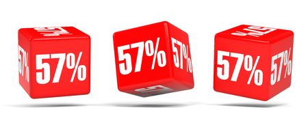 Fifty seven percent off. Discount 57 %. 3D illustration on white background. Red cubes. Stock Photo