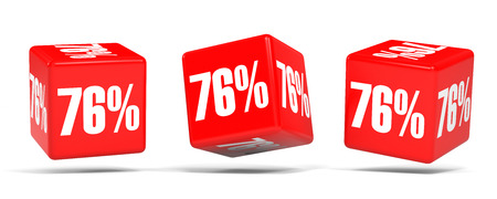 Seventy six percent off. Discount 76 %. 3D illustration on white background. Red cubes.