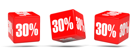 Thirty percent off. Discount 30 %. 3D illustration on white background. Red cubes. Stock Photo