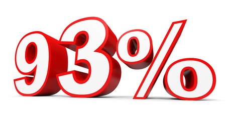 Ninety three percent off. Discount 93 %. 3D illustration on white background.